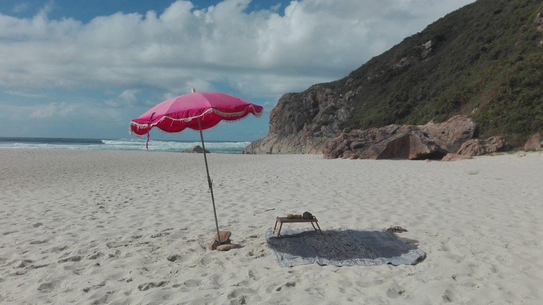 beach camp in sun
